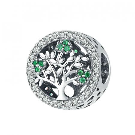 Talisman argint cu copacul vietii si zirconii