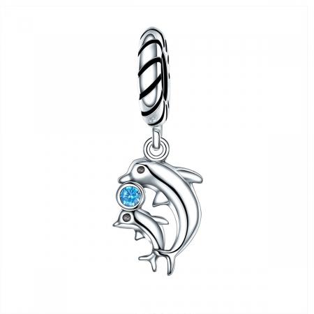 Talisman argint cu delfini si zirconiu