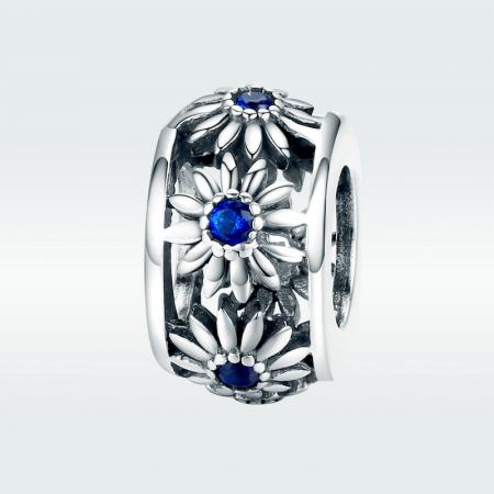 Talisman argint cu flori si cristale albastre [1]