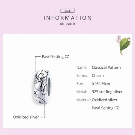 Talisman argint cu model floral si zirconii [3]