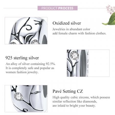 Talisman argint cu model floral si zirconii [4]