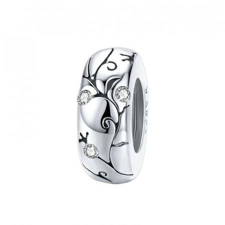 Talisman argint cu model floral si zirconii
