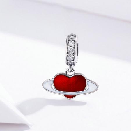 Talisman argint cu planeta inimia rosie si zirconii albe2