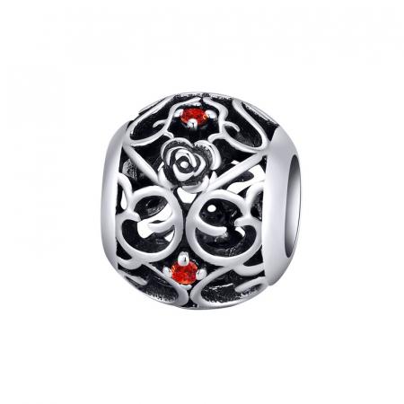Talisman argint cu trandafiri si zirconii