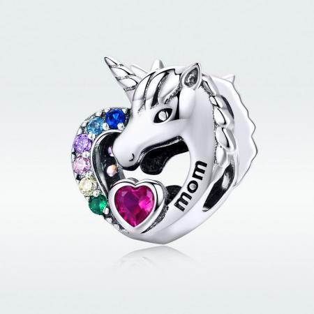 Talisman argint cu unicorn si zirconii multicolore si mesaj Mom [5]