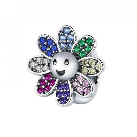 Talisman argint floare vesela cu cristale