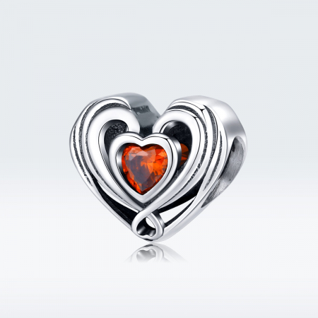 Talisman argint in forma de inima cu cristal rosu [2]