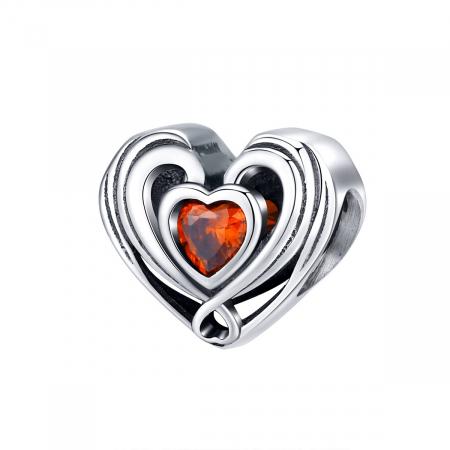 Talisman argint in forma de inima cu cristal rosu