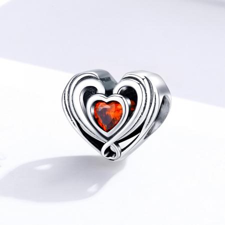 Talisman argint in forma de inima cu cristal rosu [1]