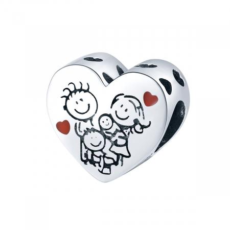 Talisman argint in forma de inima cu desen Familie Fericita