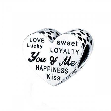 Talisman argint in forma de inima cu mesaje de dragoste