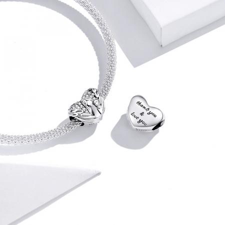 Talisman argint inima cu aripi de inger, mama si pruncul si zirconii [1]