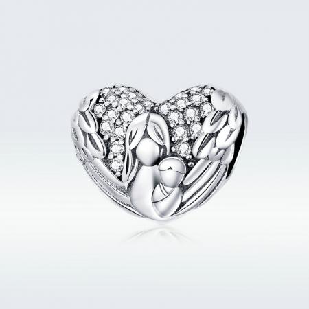 Talisman argint inima cu aripi de inger, mama si pruncul si zirconii [4]