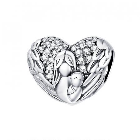 Talisman argint inima cu aripi de inger, mama si pruncul si zirconii