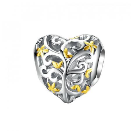 Talisman argint inima cu Copacul Vietii