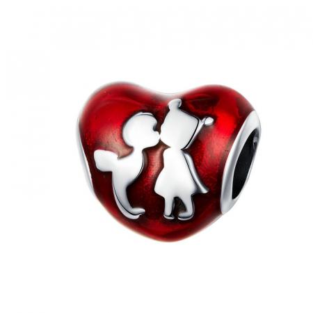 Talisman argint inima cu desen Prieteni din Copilarie