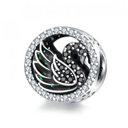 Talisman argint Lebada Neagra cu cristale