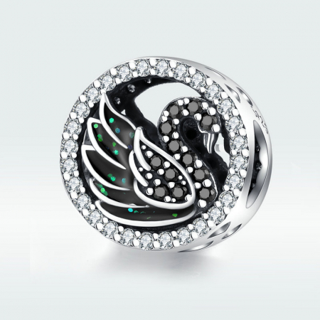 Talisman argint Lebada Neagra cu cristale [4]