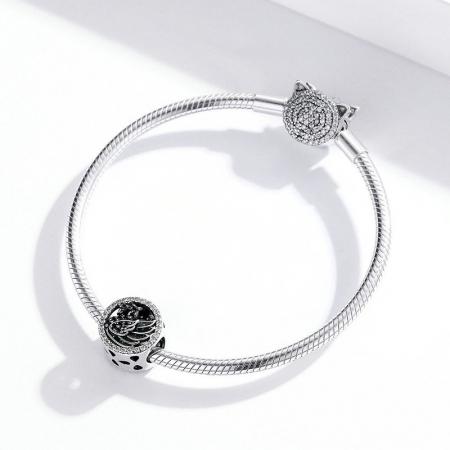 Talisman argint Lebada Neagra cu cristale [3]