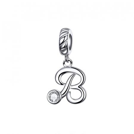 Talisman argint litera B cu zirconiu