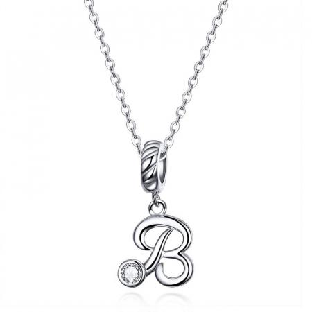 Talisman argint litera B cu zirconiu [1]
