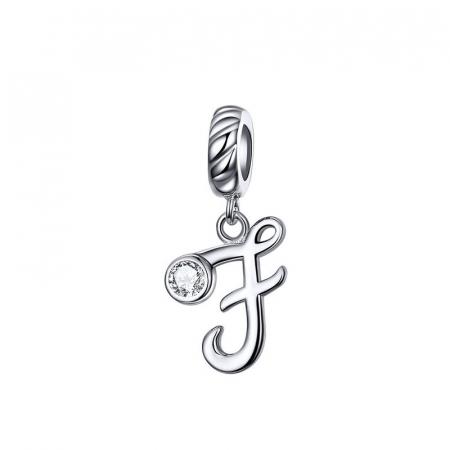 Talisman argint litera F cu zirconiu