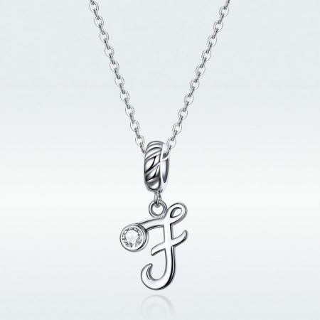 Talisman argint litera F cu zirconiu [2]