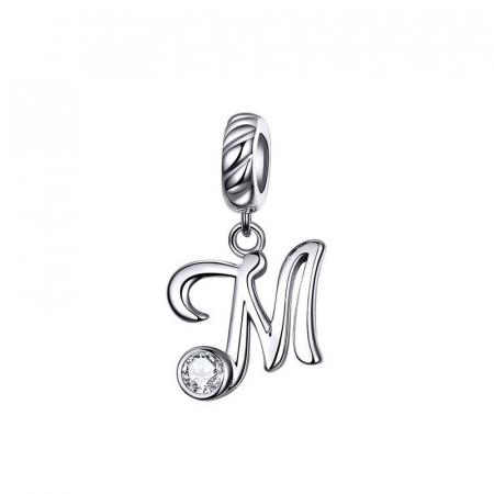Talisman argint litera M cu zirconiu