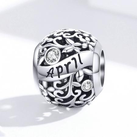 Talisman argint luna Aprilie cu zirconiu3