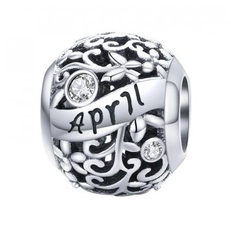 Talisman argint luna Aprilie cu zirconiu0