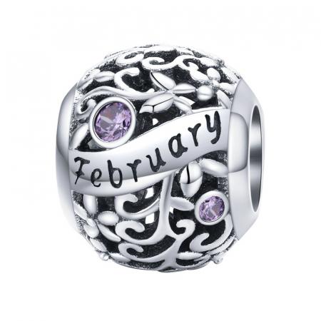 Talisman argint luna Februarie cu zirconiu