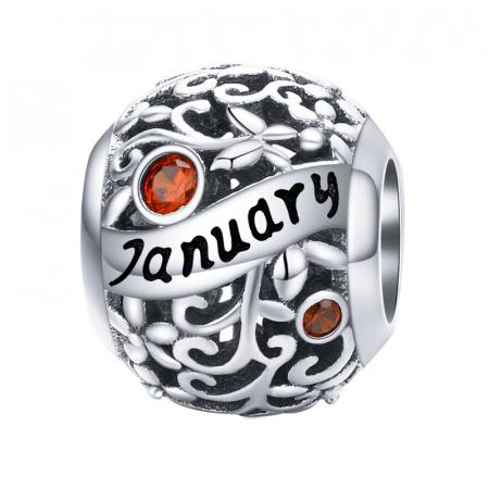 Talisman argint luna Ianuarie cu zirconiu