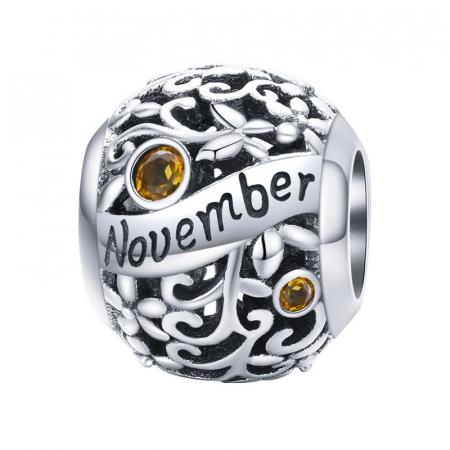 Talisman argint luna Noiembrie cu zirconiu