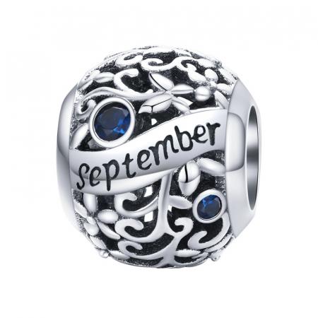 Talisman argint luna Septembrie cu zirconiu