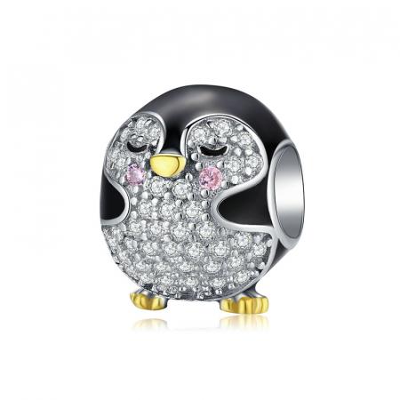 Talisman argint pui de pinguin cu cristale