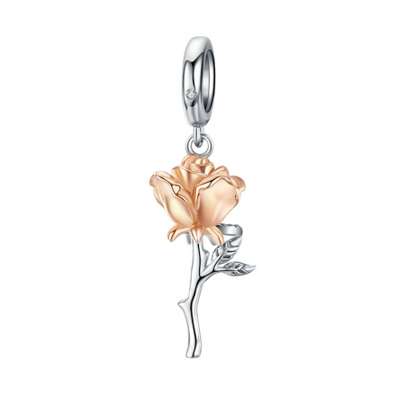 Talisman argint trandafir 3D