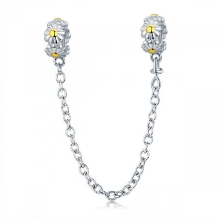 Talisman cu lant de siguranta din argintcu flori