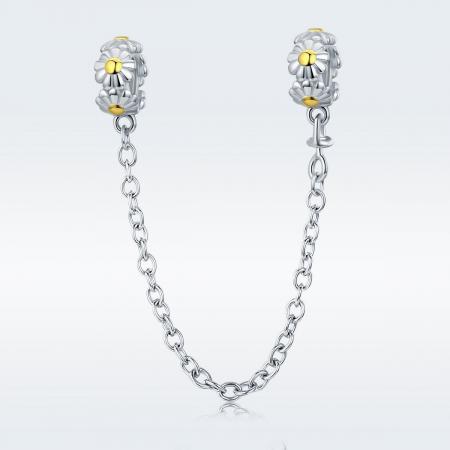 Talisman cu lant de siguranta din argintcu flori1