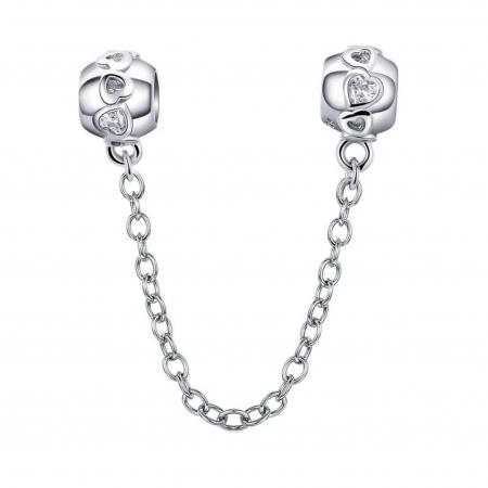 Talisman cu lant de siguranta din argint, cu inimioare