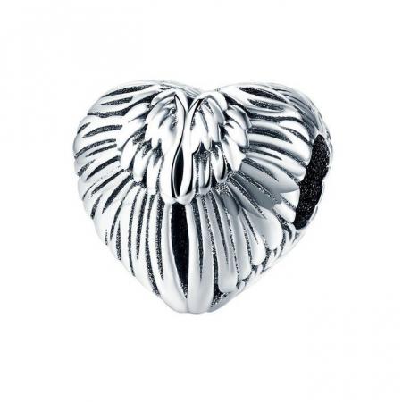 Talisman din argint 925 in forma de inima cu aripi de inger