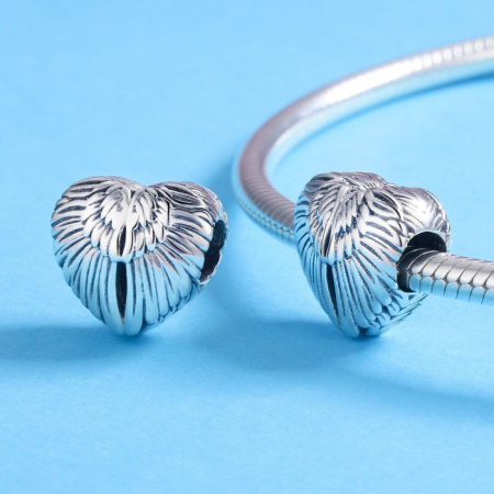 Talisman din argint 925 in forma de inima cu aripi de inger1