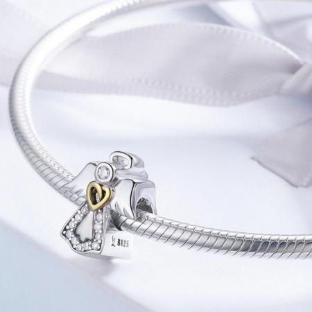 Talisman din Argint Inger Pazitor cu Inimioara Aurie si Zirconii3