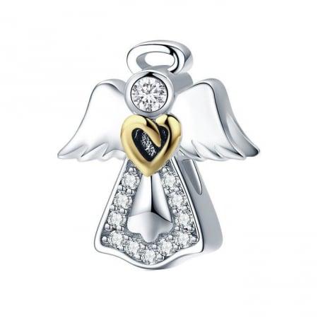 Talisman din Argint Inger Pazitor cu Inimioara Aurie si Zirconii