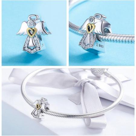Talisman din Argint Inger Pazitor cu Inimioara Aurie si Zirconii2
