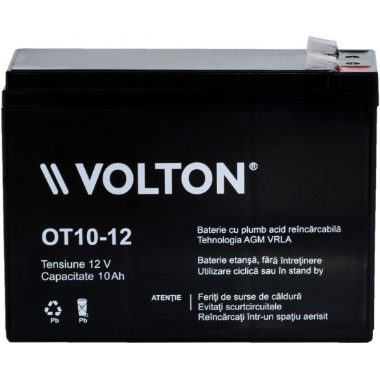 Acumulator stationar plumb acid VOLTON 12V 10Ah AGM VRLA [1]