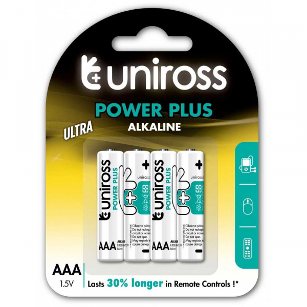Baterii alcaline AAA, R3, blister 4 bucati UNIROSS [0]
