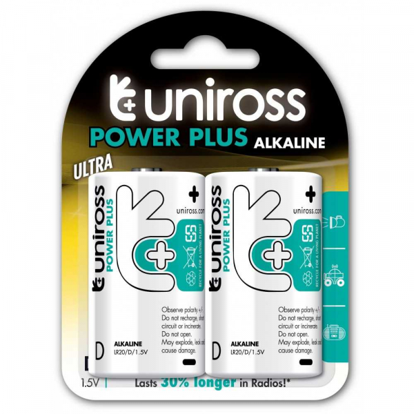 Baterii alcaline D, R20, blister 2 bucati UNIROSS [0]