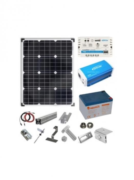 Sistem fotovoltaic 30W cu Invertor 200W - 12V-big