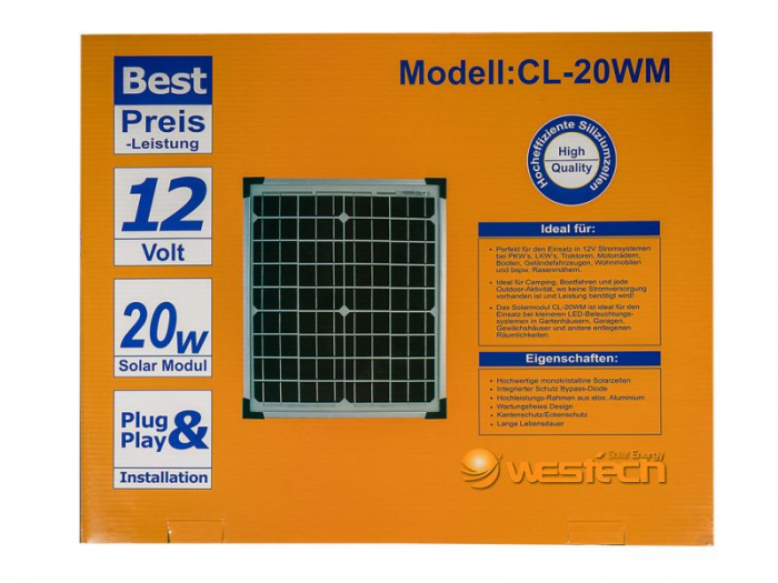 Panou solar fotovoltaic 20W monocristalin-big