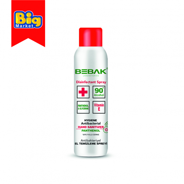 Dezinfectant spray Bebak pentru maini, antibacterian, panthenol - 150 ml 0